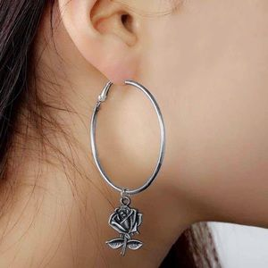 2/$20! Silver Hoops w/Antiqued Rose